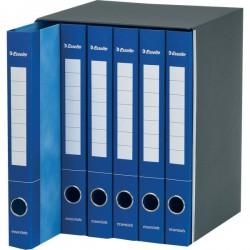 Gruppi 6 cartelle Essentials Esselte - 2 anelli Ø 25 mm - blu