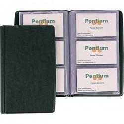 Portabiglietti da visita in PVC Favorit - 3 tasche 60 scomparti -11x19 cm blu