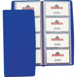Portabiglietti da visita in PVC Favorit - 4 tasche 80 scomparti - 11x25,5 cm blu