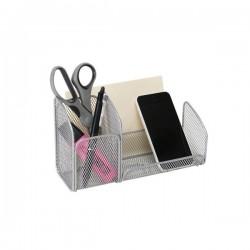 Portaoggetti in metallo traforato Mesh Alba - argento - 21x10x12,4 cm
