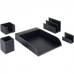 Starter kit da scrivania in ecopelle Tecnostyl - nero