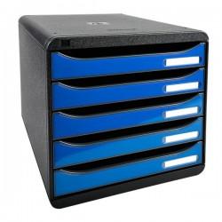 Cassettiera Iderama Exacompta - Glossy nero/Cassetti blu ghiaccio glossy - 34,7x27,8x27,1 cm