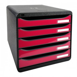 Cassettiera Iderama Exacompta - Box Glossy nero/Cassetti lampone glossy - 34,7x27,8x27,1 cm