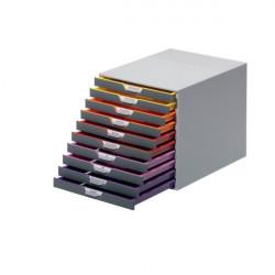 Cassettiere da scrivania Varicolor® Durable - grigio e multicolore - 10 cassetti - 2,5 cm