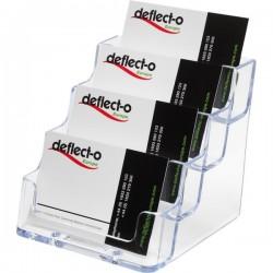 Portabiglietti da visita da tavolo Deflecto - 4 scomparti - 10x11x9,5 cm - trasparente