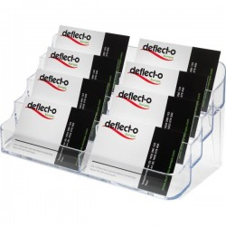 Portabiglietti da visita da tavolo Deflecto - 8 scomparti - 20x9,5x9,8 cm - trasparente