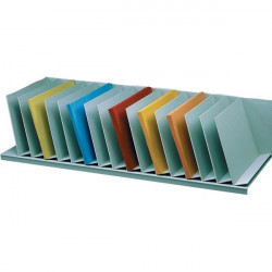 Sistema multiblocco Paperflow - Reggilibri con separatori fissi inclinati - grigio