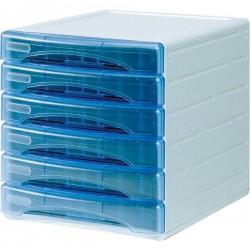 Cassettiera Olivia Arda - 6 cassetti piccoli - 3 cm - azzurro trasparente
