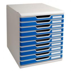 Cassettiera Modulo A4 Exacompta - grigio chiaro/blu - 10 cassetti