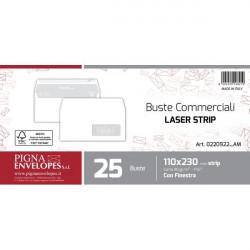Buste per stampa laser con finestra Pigna - strip - 11x23 cm - 90 g (conf.25)