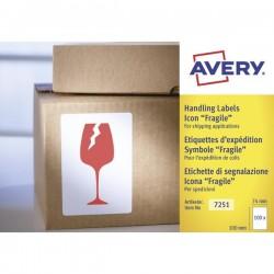 """Etichette in rotolo per spedizioni Avery - """"Fragile"""" - 74x100mm - 200"""