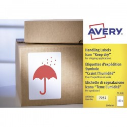 """Etichette in rotolo per spedizioni Avery - """"Teme Umidità"""" - 74x100mm - 200"""