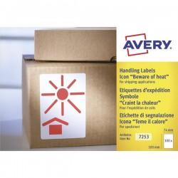 """Etichette in rotolo per spedizioni Avery - """"Teme il calore"""" - 74x100mm - 200"""