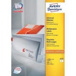 Etichette bianche per buste formato A5 Avery - 210x148 mm - 1 (conf.200)