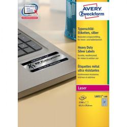 Etichette in poliestere Avery - laser - argento - 63,5x29,6 mm - 27 - arrotondati (conf.100)