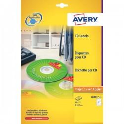 Etichette Classiche CD Avery per stampanti Laser ed Inkjet - bianco - 2 et/ff (conf.25)