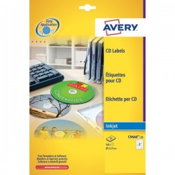 Etichette Full-Face CD Avery per stampanti Inkjet - bianco pat.lucido - 2 et/ff (conf.25)
