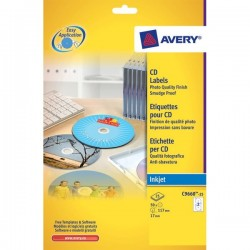 Etichette Full-Face CD Avery per stampanti Inkjet - bianco pat. opaco - 2 et/ff (conf.25)