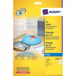 Etichette Full-Face CD Avery per stampanti Laser - bianco - 2 et/ff (conf.100)