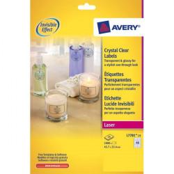 Etichette lucide invisibili Avery - 40 - 45,7x25,4 mm - 190 g/mq (conf.25)