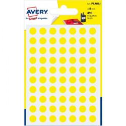 Etichette rotonde in bustina Avery - giallo - diam. 8 mm - 70 (conf.6)