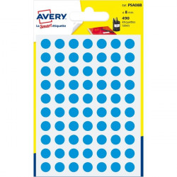 Etichette rotonde in bustina Avery - blu - diam. 8 mm - 70 (conf.6)