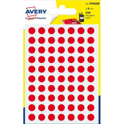 Etichette rotonde in bustina Avery - rosso - diam. 8 mm - 70 (conf.6)
