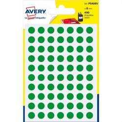 Etichette rotonde in bustina Avery - verde - diam. 8 mm - 70 (conf.6)