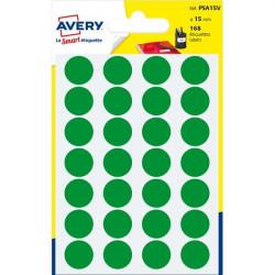Etichette rotonde in bustina Avery - verde - diam. 15 mm - 24 (conf.7)