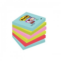 Foglietti Post-it® Super Sticky Miami - assortiti a tema Miami - 76x76 mm (conf.6)