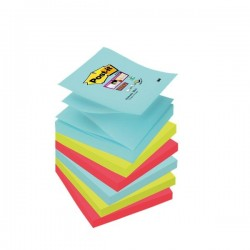 Ricariche foglietti Post-it® Super Sticky Z-Notes - 76x76 mm - : acqua , verde , rosso (conf.6)