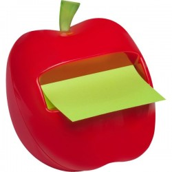 Dispenser Post-it® Z-Note Mela - 76x76 mm - 9x8x8 cm - rosso - verde pastello e neon - APL
