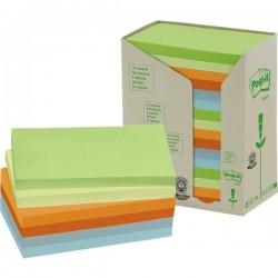 Post-it® Note in carta riciclata giallo - assortiti pastello - 127x76 mm (conf.16)