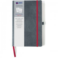 Quaderni rilegati Notizio Avery - A4 - quadretti 5 mm - grigio - 80