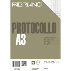 Fogli protocollo Fabriano - standard - rigato commerciale - 66 g/mq (conf.200)