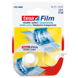 Nastro biadesivo trasparente tesafilm Tesa - Chiocciola con lama in metallo - 12 mm x 7,5 m
