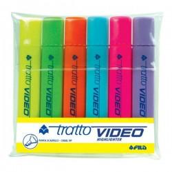 Evidenziatore Tratto Video -giallo,verde,arancio,azzurro,rosa,lilla- 1- 5 mm (conf.6)