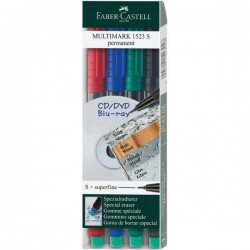 Marcatore permanente Multimark Faber Castell - Punta superfine - assortiti - 0,4 mm (conf.4)