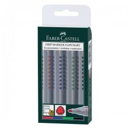 Marcatore per lavagne a fogli GRIP 1536 Faber Castell - rosso blu nero verde (conf.4)