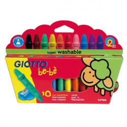 Schoolpack Superpastelli a cera Giotto Be-bè - 5 mm - da 2 anni in poi (conf.10)
