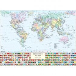 Carta geografica murale fisica e politica MONDO Belletti - 132x99 cm