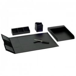 Servizio scrittoio in pelle nappa Orna - 56x40 cm - nero