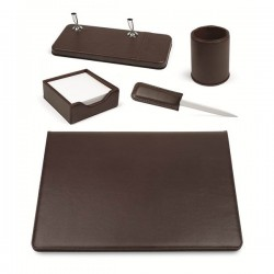 Set scrivania in similpelle Niji - 50x35 cm - marrone - 119