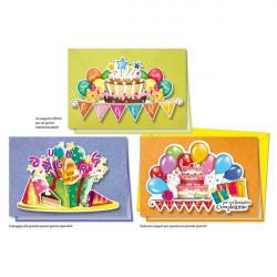Biglietti augurali di compleanno Cromo - 3 modelli assortiti - allegre scritte (conf.12)
