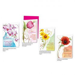 Biglietti augurali di compleanno Cromo - 4 modelli assortiti - fiore (conf.12)