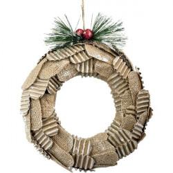 Corona natalizia - 20 cm - panna