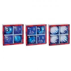 Sfere natalizie decorate - blu/trasparente (conf.4)