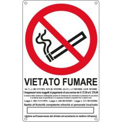 Cartelli segnaletici divieto - vietato fumare con legge - 270x430 mm