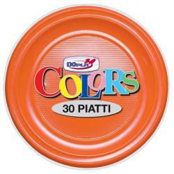 Stoviglie monouso in plastica colorata DOpla - Piatti piani - arancione - Ø 22 cm (conf.30)
