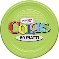 Stoviglie monouso in plastica colorata DOpla - Piatti piani - verde acido - Ø 17cm (conf.50)